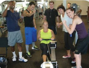 University of Saint Augustine students at the San Diego, CA campus work out in the wellness center.
