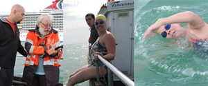 The second University of Saint Augustine English Channel Relay team swims from the shores of Dover, England to France