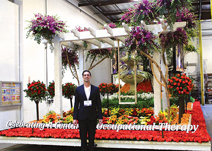 Harrison Phelps, president of the Student Occupational Therapy Association on the San Marcos campus, was chosen to ride on the Tournament of Roses Parade float