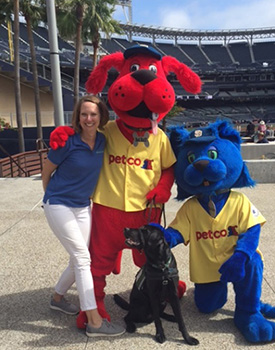 Erin Schwier, OTD takes USAHS facility dog to be part of the Petco the Park Dog Days of Summer Padres game