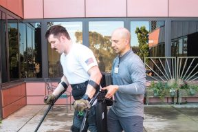 DPT graudate uses robotic walking device for veterans with spinal cord injuries