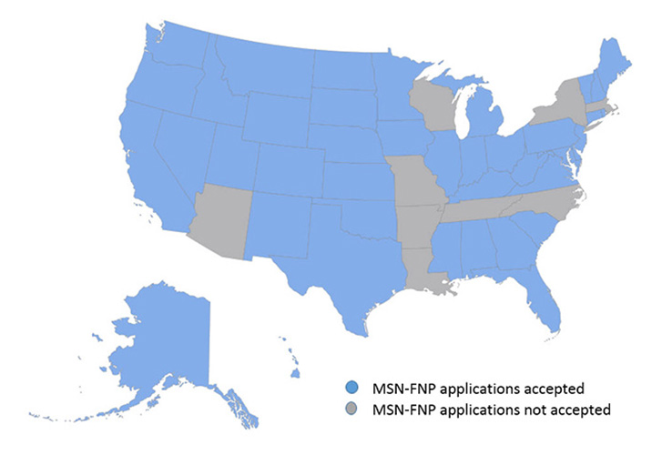 MSN FNP Approved States