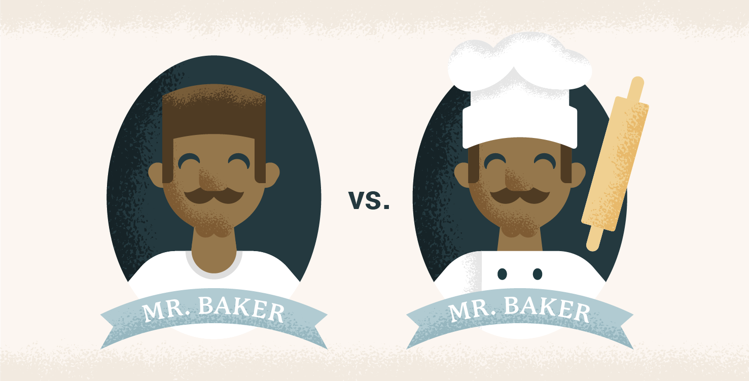 Mr. Baker with a chefs hat and Mr. Baker without a chef hat