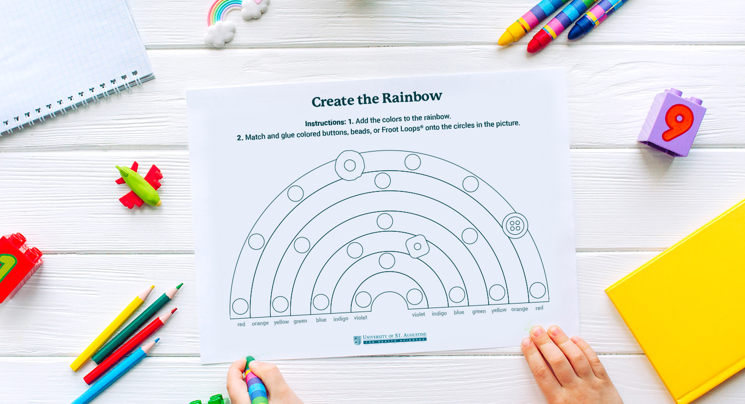 rainbow coloring and placement page