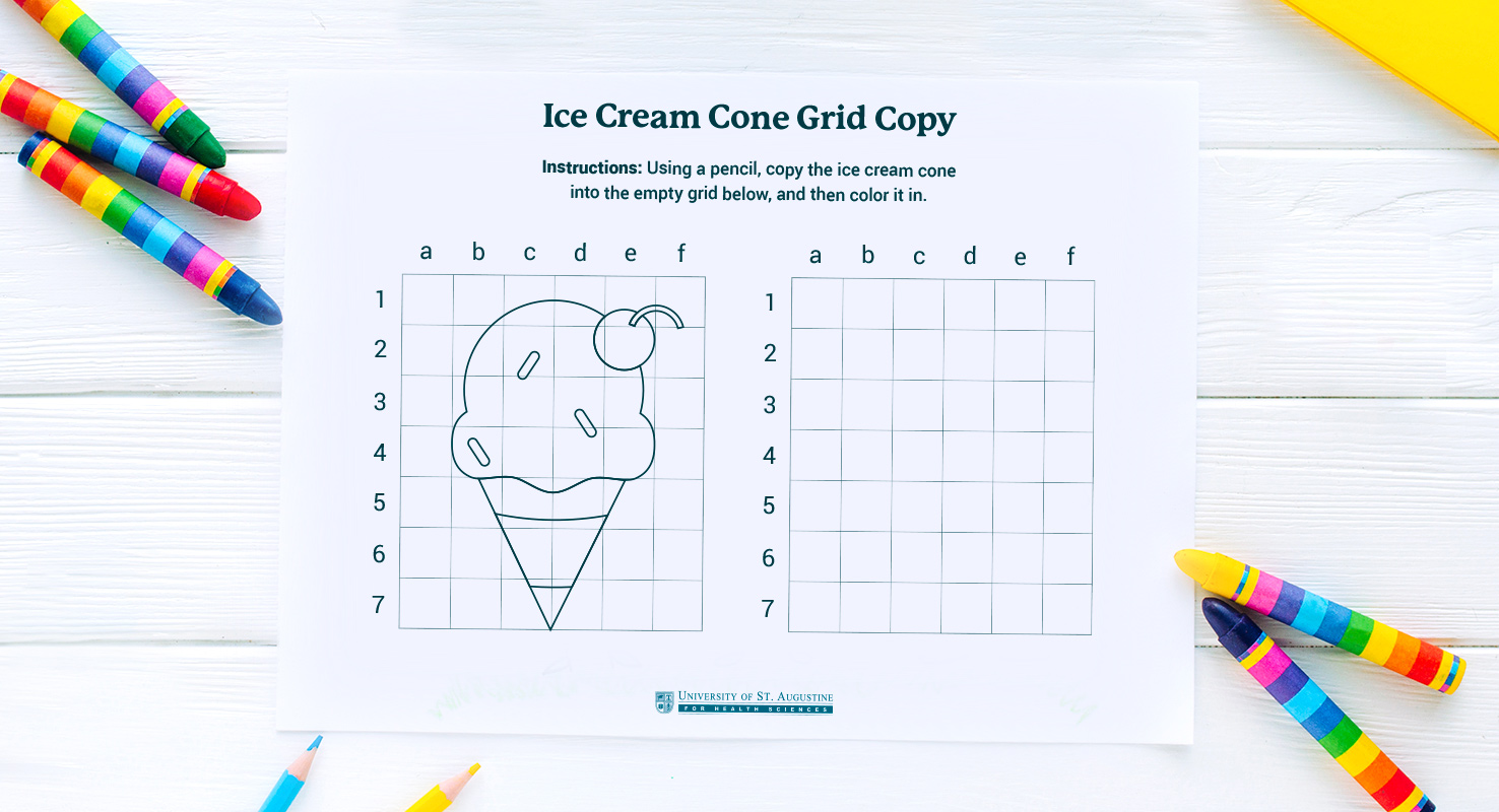 ice cream cone grid tracing page