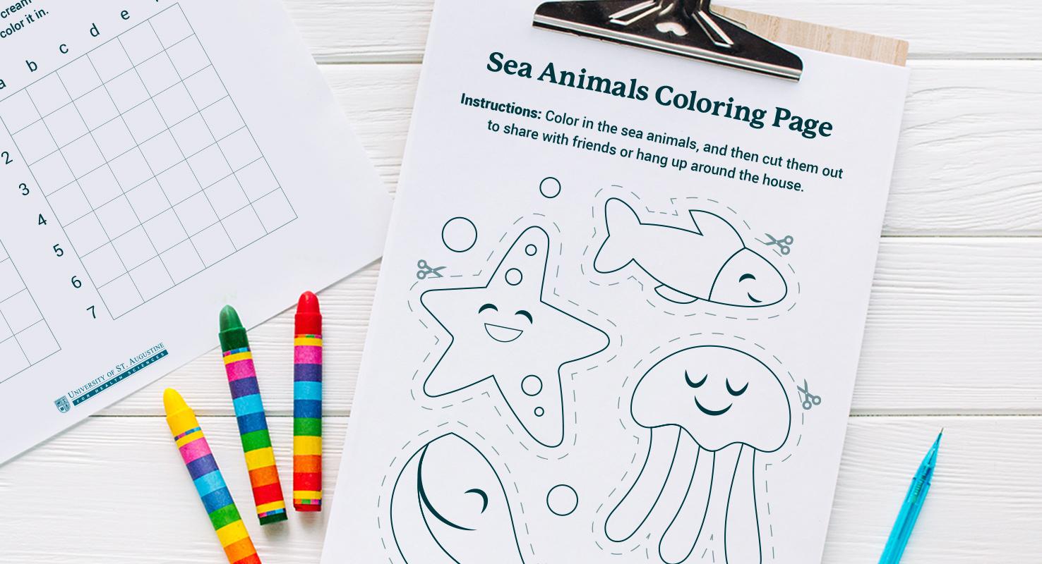 sea animals coloring page