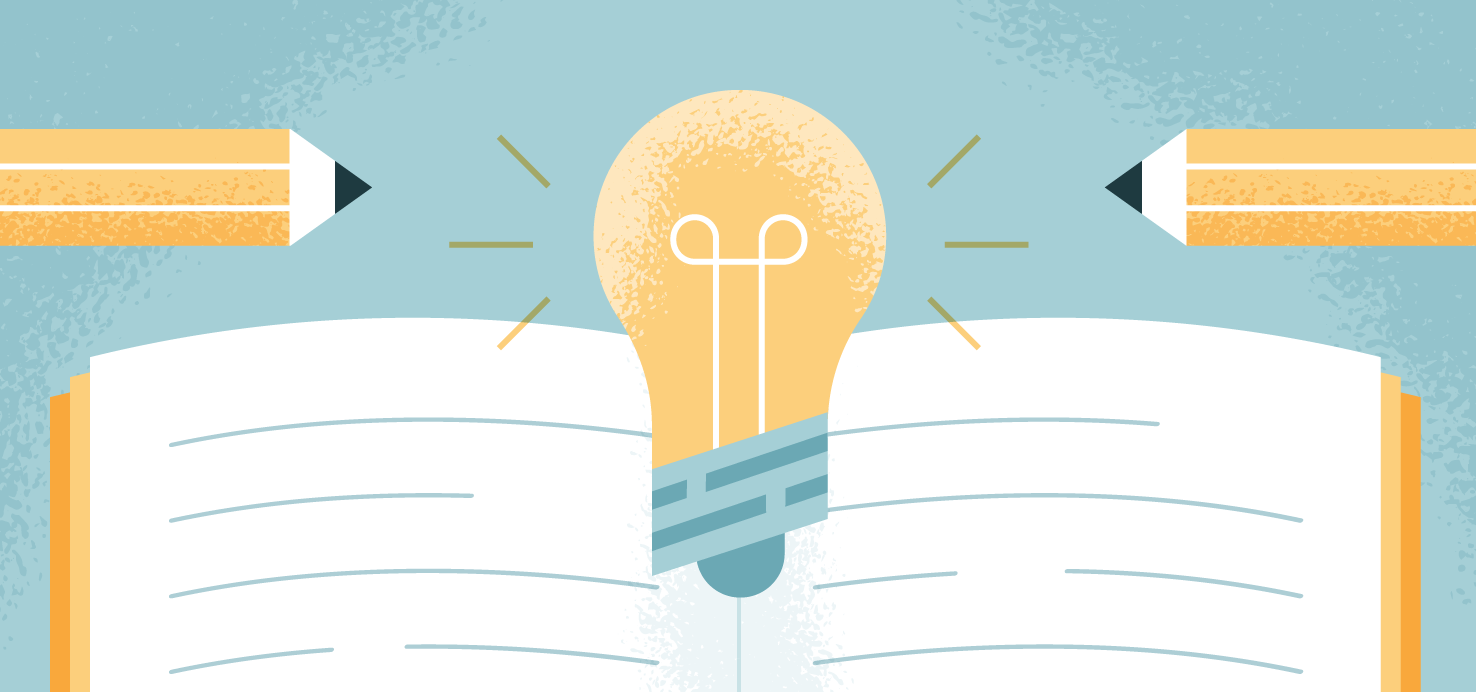 illustration of a light bulb and a notebook