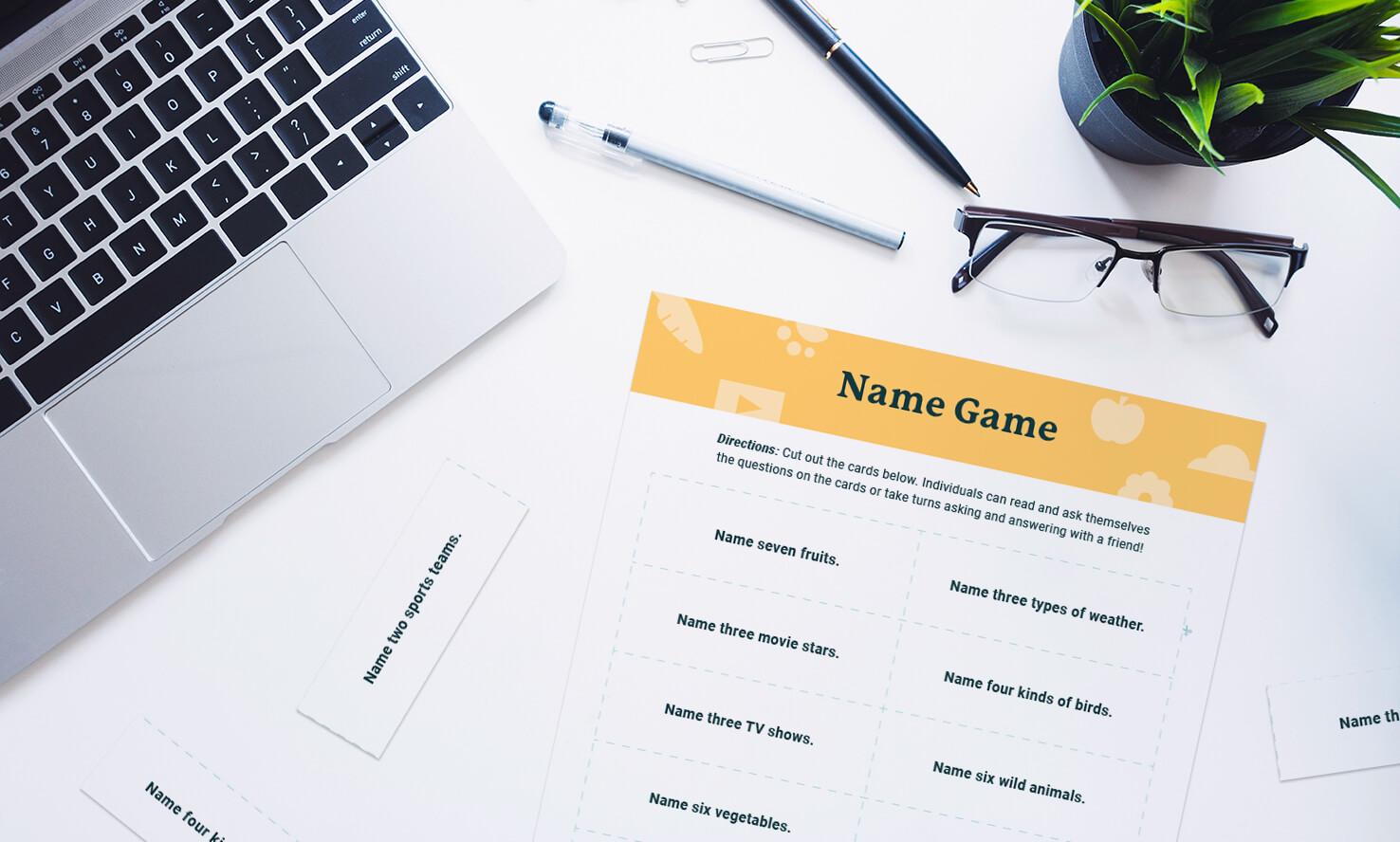 name game mockup