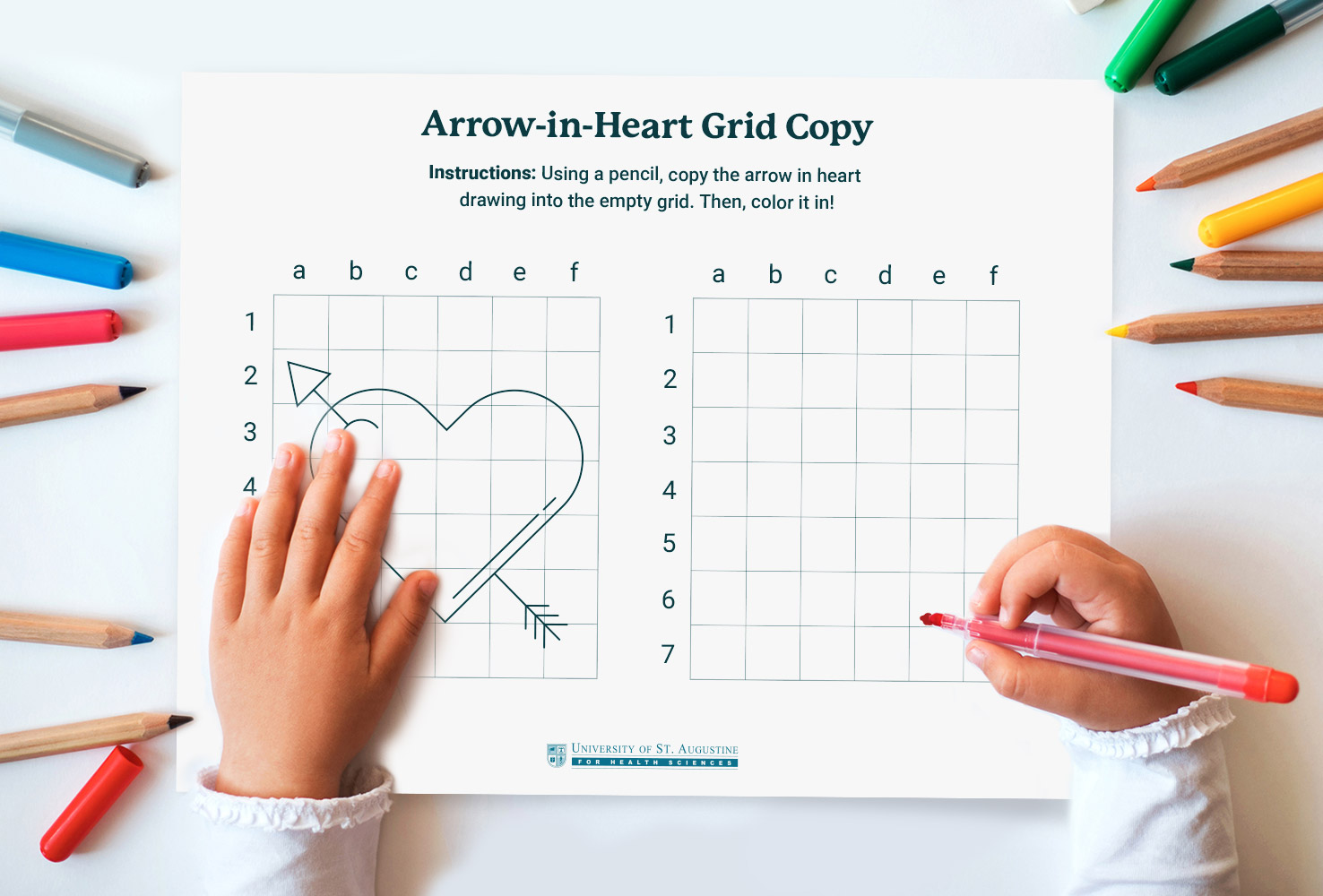 arrow in heart occupational therapy activity