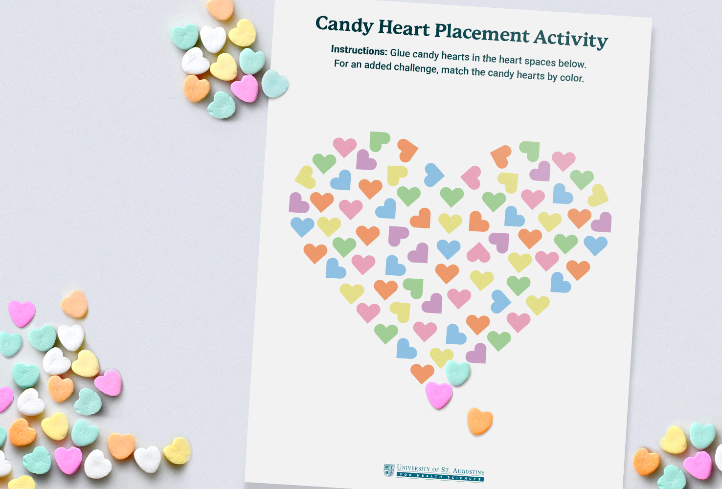 candy heart placement occupational therapy activity