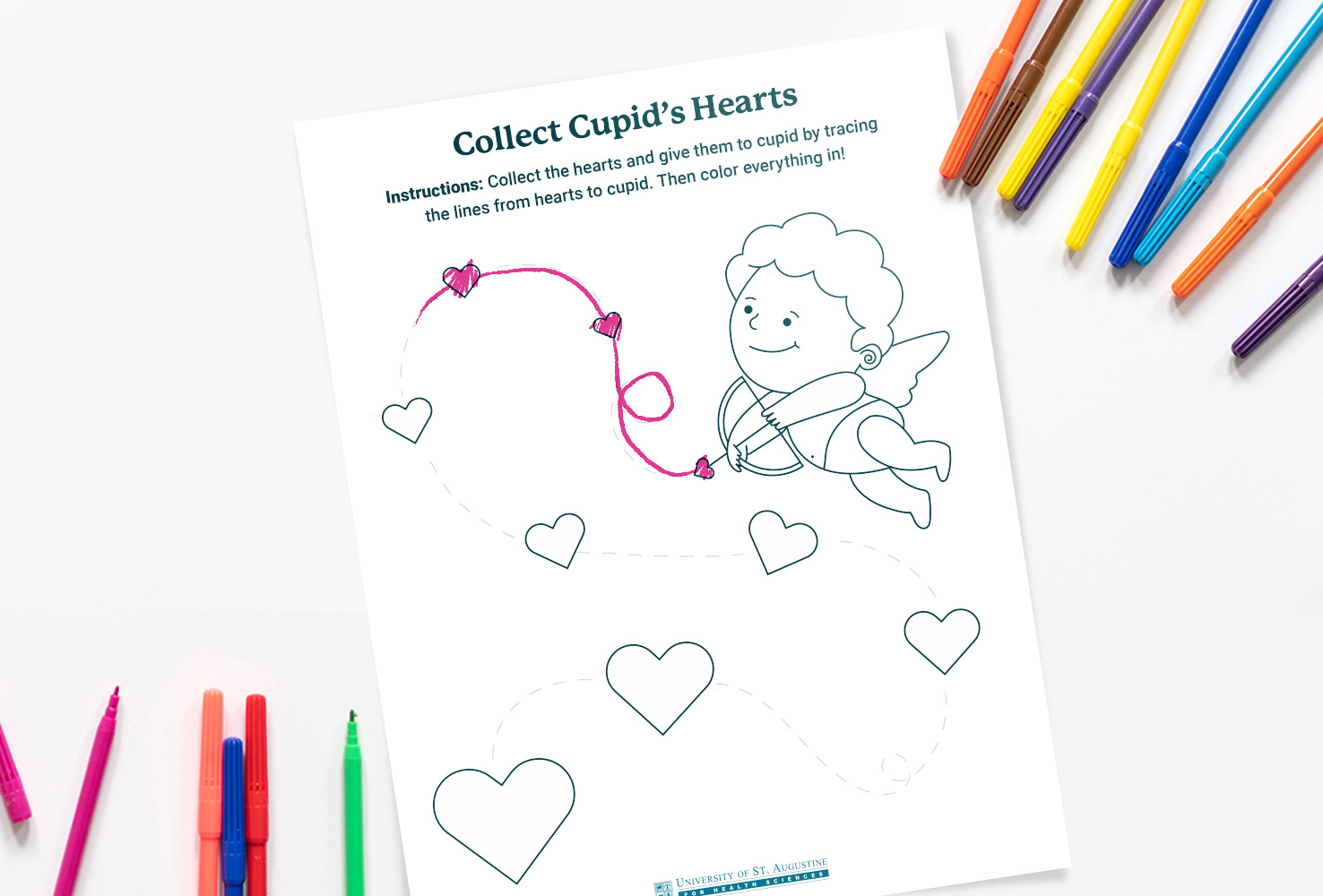 cupid heart tracing occupational therapy activity