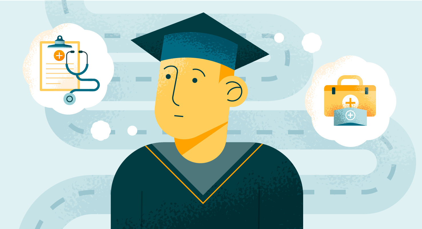 Cartoon graduate with two picture thought bubbles graphic