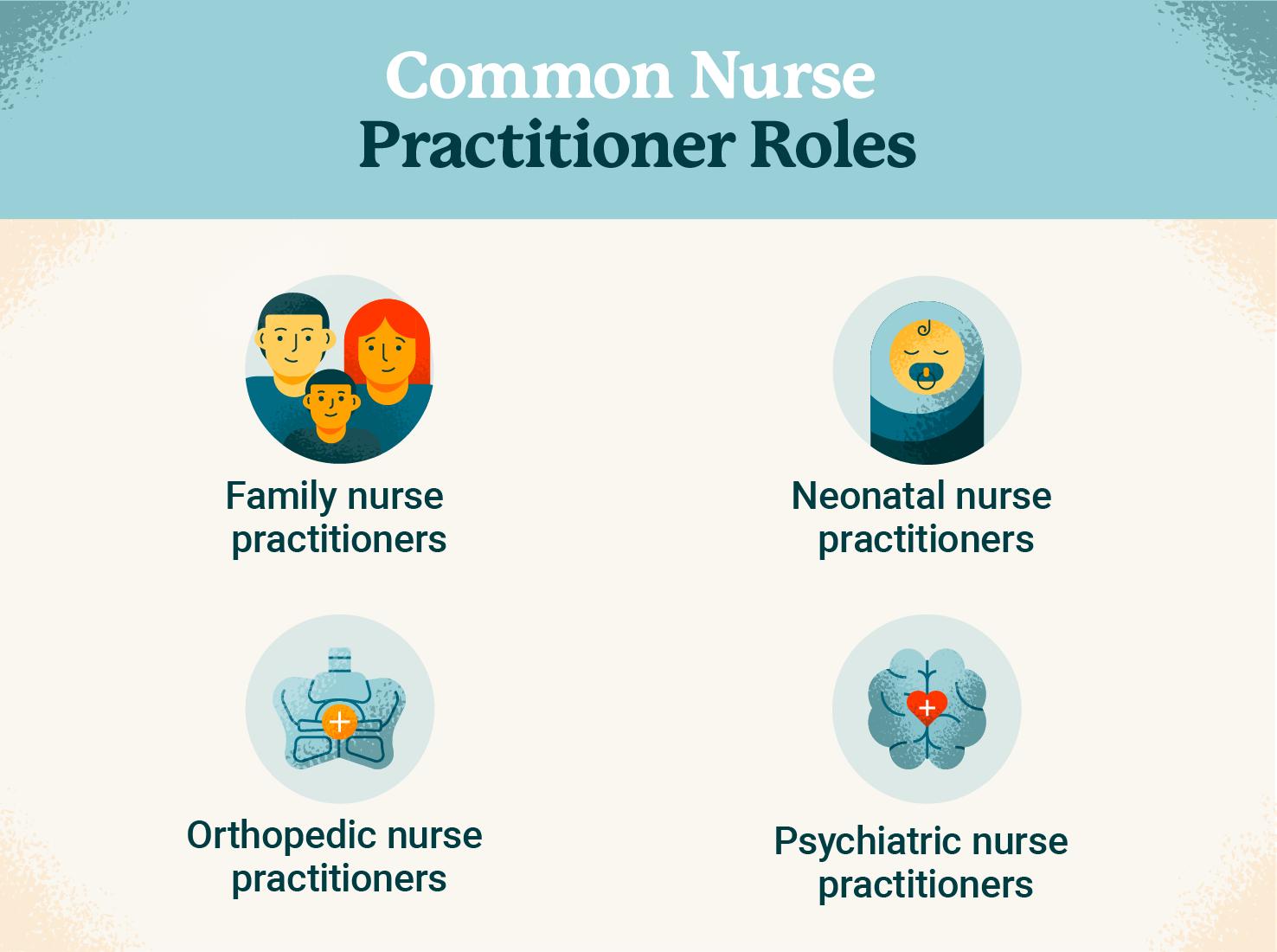 Four common nurse practitioner roles graphic