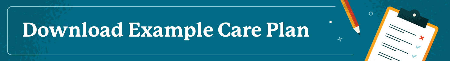 Blue box button with words Example Care Plan