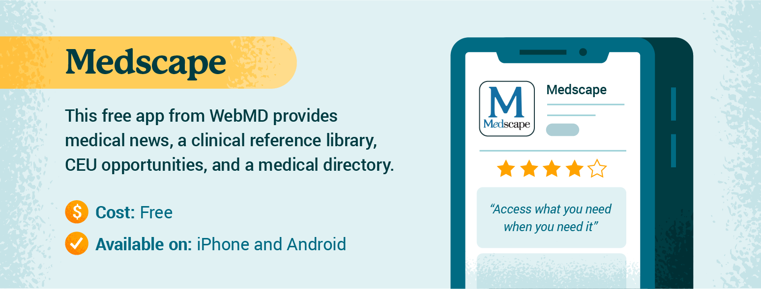 Graphic with details about Medscape app