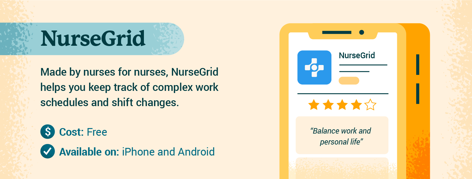Graphic with details about Nurse Grid app